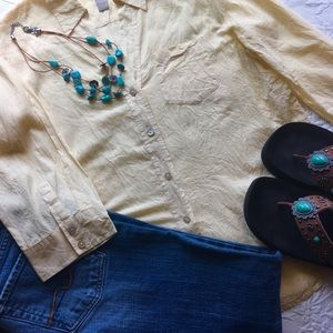 Chico's soft yellow button front shirt